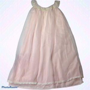 Lisette Pale Pink Nightie Vintage Gown Sheer Layer